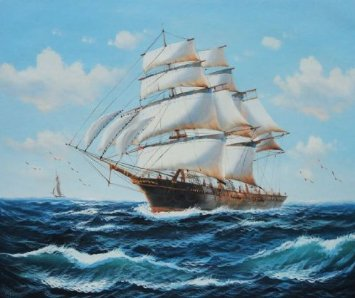 Oil Painting of Sailing Ship.